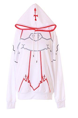 Kawaii-Story TA-64 Sword Art Online SAO Asuna weiß Cosplay Kapuzen Sweatshirt Jacke Hoodie (XL)