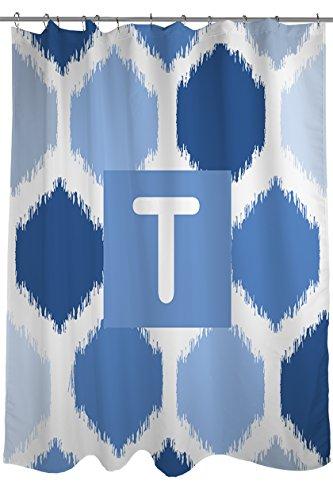 Manuelle holzverarbeiter & Weavers Vorhang für die Dusche, Monogramm Buchstabe T, Blau Batik -