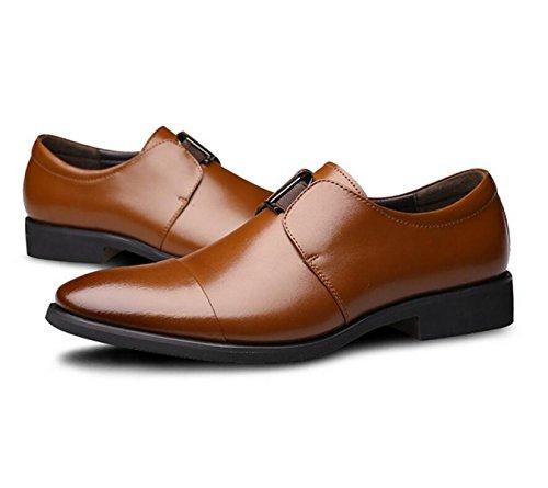 GRRONG Chaussures En Cuir Pour Hommes Daffaires Pointu Robe Formelle Jaune Noir yellow