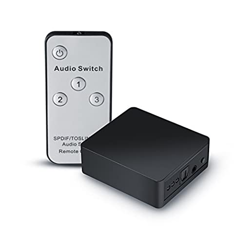 CSL - Toslink 3 x 1 Switch / SPDIF audio switch with remote control | 1:1 transmission | Apple TV, Xbox, Blu-ray player etc. to sound bar, receiver, speakers etc. | Black