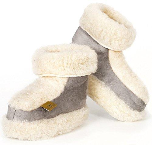 Alwero Snowy's Wolle & Suede Hausschuhe Hüttenschuhe Grau