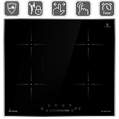 Induktionskochfeld 59cm (Autark, 6kW, 15 Stufen, 4 Zonen, Slim-Designrahmen in Edelstahloptik, Touch, LED-Anzeige) KF5900IND-ED - KKT KOLBE