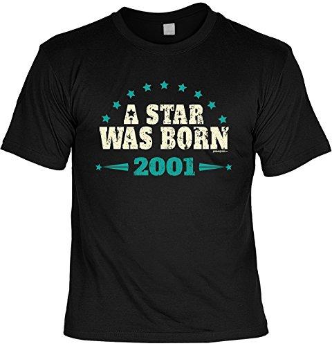 T-Shirt zum 16. Geburtstag a star was born 2001 Geschenk zum 16 Geburtstag 16 Jahre Geburtstagsgeschenk 16-jähriger Schwarz