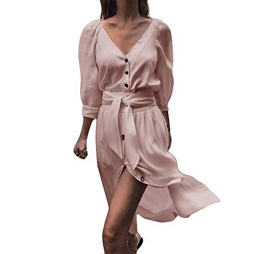 MIRRAY Damen V-Ausschnitt Button Solide Mode Lässig Abend Party Minikleid Split Gürtel Brautkleid