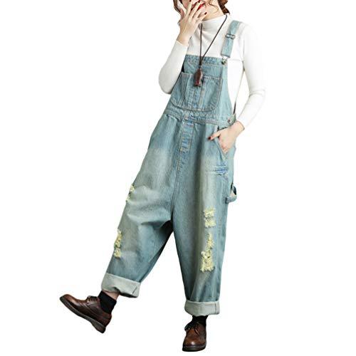 YuanDian Damen Denim Latzhose Weites Bein Drucken Große Größen Overalls Latzjeans Strampler Jeans Boyfriend Loose Fit Mutterschaft übergroße Jumpsuits Hose 5# Hellblau