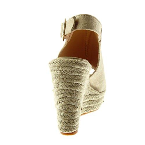 Angkorly Scarpe Da Donna Sandali Mulo - Scarpe Con Plateau - Peep-toe - Cinturino Alla Caviglia - Corda - Tacco A Zeppa Intrecciato Tacco Alto 11 Cm Beige