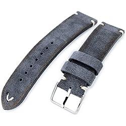 21mm MiLTAT Dark Grey Genuine Nubuck Leather Watch Strap, Beige Stitching, Polished