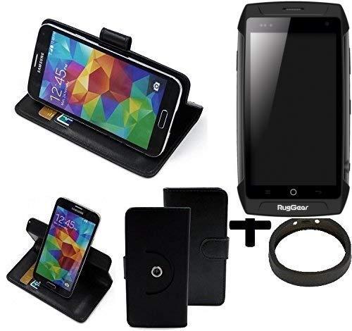 K-S-Trade® Hülle Schutzhülle Case für Ruggear RG730 + Bumper Handyhülle Flipcase Smartphone Cover Handy Schutz Tasche Walletcase schwarz (1x)