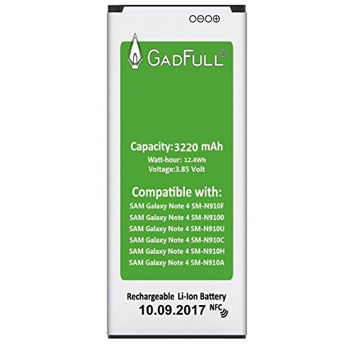 GadFull® Batterie pour Samsung Galaxy Note 4 | Date de Production est 2017 | correspond à l' EB-BN910BBE batterie d'origine du modèle SM-N910F | SM-N9100 | SM-N910U | SM-N910C | SM-N910H | SM-N910A