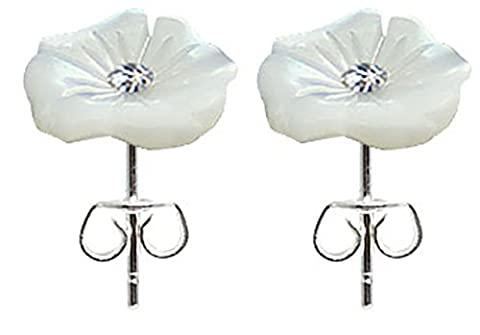 Genuine Sea shell stud earring with Swarovski crystal in centre by BodyTrend - it was made of stainless steel with flower Design