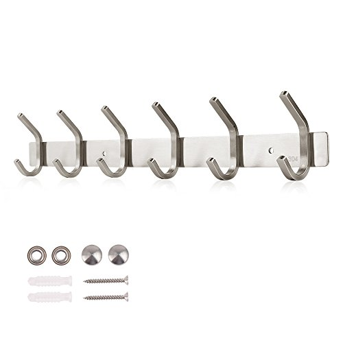 Dripex 304 Stainless Steel Coat Hanger Hooks, Tower Robe Hat Cookware Rack Holder, Wall Mounted Heavy Duty for Kitchen Bathroom Lavatory Door Closets (6 Hooks)
