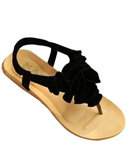 Schuhe Strand Bohemia T spangen Blume Sandalen Sommer Zehentrenner Süß Youjia Damen Schwarz Thongs Pqx4Zqaw