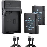 BPS 2x EN-EL14 EN-EL14a Baterías + 1x Cargador de Batería para Nikon D3100 D3200 D3300 D5100 D5200 D5300 D5500 D3S, Coolpix P7000 P7100 P7700 P7800 DSLR Cámara