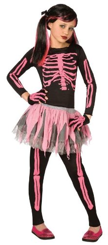 Pink Skeleton Kostüm Punk - Pink Skeleton Punk Child Costume, 4-6