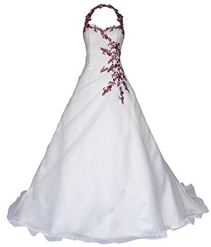 Romantic-Fashion Brautkleid Hochzeitskleid Neckholder Weiß Modell W021 A-Linie Satin Perlen...