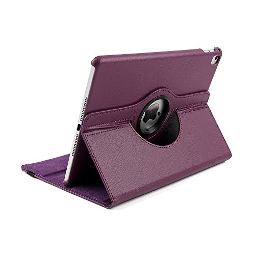 Preisvergleich Produktbild iPad Pro 12.9 Case, elecfan® iPad Pro 12.9 Zoll 360 drehende Smart Hülle PU Leder Abdeckung Gehäusedeckel für Apple iPad Pro 12.9 Zoll (iPad Pro 12.9, Lila)