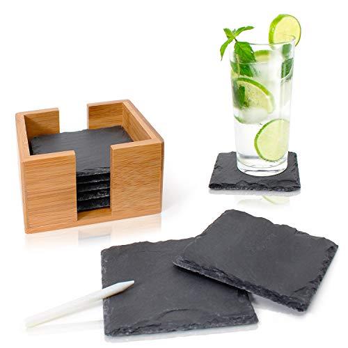 Amazy Schiefer Untersetzer Set (8 Stück) inkl. Kreidestift - Dekorative Glasuntersetzer aus 100% Natur Schieferplatten mit praktischem Halter aus edlem Bambus - Tolle Geschenkidee (eckig | 10x10 cm)