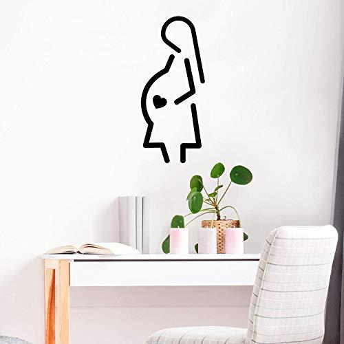 Wandaufkleber aus Vinyl, Motiv Schwangere Herz-Silhouette, 89 x 38 cm, modern, süße, charmante Eltern, Unisex Baby Kleinkind Kinderzimmer, Wohnzimmer, Kinderzimmer, Spielzimmer, Indoor Outdoor -