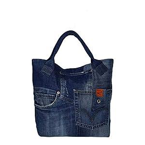 Blaue Henkeltasche Damen, Handtasche Damen nachhaltig, Schultertasche Damen Gross, Denim Shopper Damen Groß, Canvas Tasche Arbeitstasche Damen, Damen Tasche mit Reißverschluss und Fronttaschen