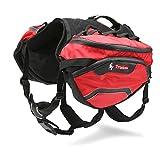Zll Haustier Satteltasche Reflektierende einstellbare Hundegeschirr Träger für Outdoor-Reise-Training Camping Wandern,Red,M