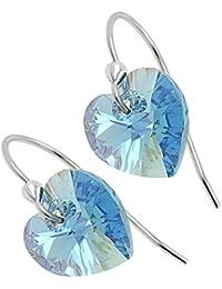 Pendientes colgantes de plata de ley 925 con cristales de aguamarina de Swarovski, regalo para mujeres y niñas, caja de regalo de cumpleaños, Navidad, aniversario, día de la madre