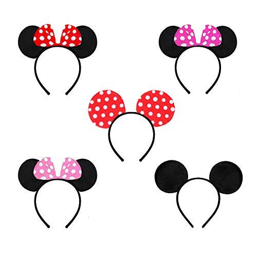 rosepartyh Minnie Mickey Mouse Ohren Haarreifen mit Mini Maus Ohren Schleife 5 Pcs für Kinder und Erwachsene Christmas Birthday Hair Accessories Baby Shower Valentine\'s Day Halloween