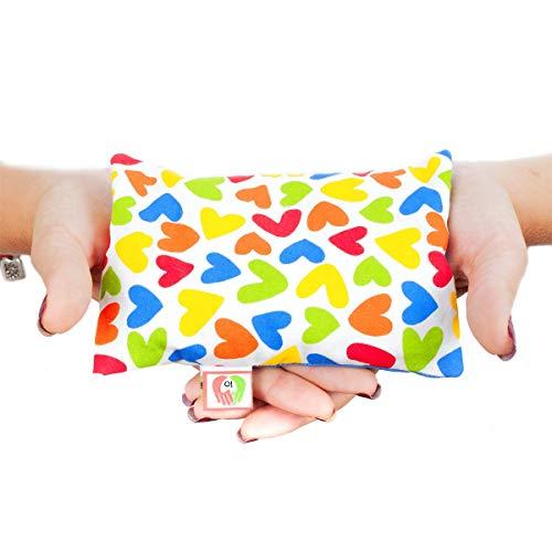 Saco térmico anticólicos para bebés (15x10 cm) Cojín de semillas para microondas hecho con tela de algodón 100%, con funda lavable y suave olor a lavanda ST10 (Corazones)