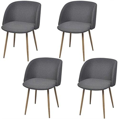 Küche Holz-finish Stuhl (Lingjiushopping Stühle Esszimmer 4Stück dunkelgrau Farbe: Grau dunkel Material: Exklusive Rahmen aus Stahl mit Finish in Holz)