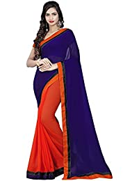 Sarees For Women Sarees New Collection Sarees For Women Latest Design Women's Navy Blue Orange Georgette Embroidered...
