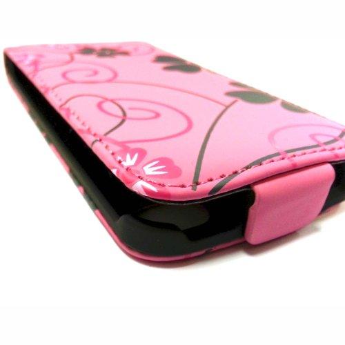 GADGET BOXX ÉTUI ROSE ROSE ET NOIR AVEC FLEURS ET TOURBILLON IMPRIMÉS ÉTUI À RABAT EN CUIR PU POUR APPLE IPHONE 4/4S
