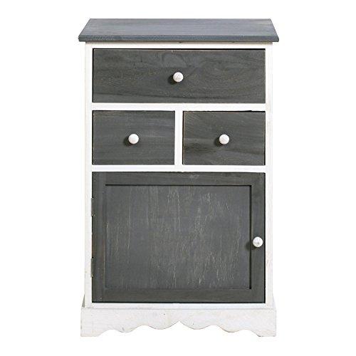Rebecca Mobili Cajonera blanca y gris, mueble auxialiar con 3 cajones, madera de paulonia, estilo vintage, muebles para baño entrada cocina - Medidas: ...