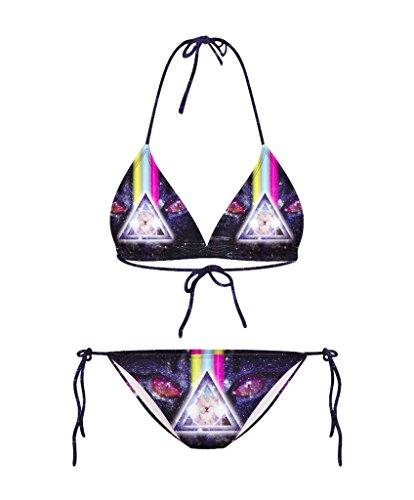 COMVIP Damen Strand Push Up Sommer Zweiteilig Bikini-Sets Slip Neckholder Badeanzug Swimwear Augen Schwarz