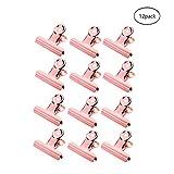 XLhaha 12Pcs Métal Charnière Clips Grip Clip Bulldog Binder Clamps Papier Lettre Clamp Spring Chargé File Organizer pour Bureau/Travail/Maison/Cuisine/Ménage/École etc.(or rose,51mm)