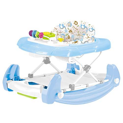 Babywalker Lauflernhilfe Gehfrei Jungen Baby Walker blau für Babys Baby Kinder 2 in 1 Spielzeug Babystuhl Auto ab 6 Monaten Schaukel Wippe Lauflernwagen Laufhilfe Laufstuhl faltbar verstellbare Höhe (Walker Für In 2 Einem Babys)