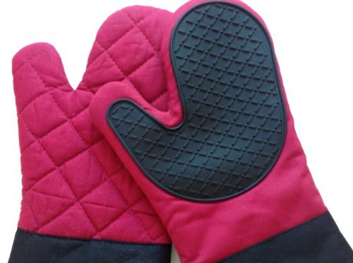 Silicone Barbeque Gloves - Great To Use As Heat Resistant Cooking Gloves, Pot Holders And Oven Mitts - Tough Non-Slip Flexible Silicone Grip - Perfect As Oven Gloves, Grill Gloves, Baking Gloves Or To Handle Hot Dishes In The Kitchen Or At The BBQ - 1 Lon