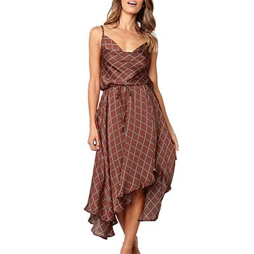 B-commerce Women Gestreifte Kleider - Lässig Plaid Rückenfrei Ärmellos V-Ausschnitt Abendkleid Sling Kleid mit Rüschen und Gürtel Kleid