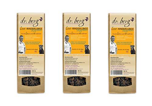 Dr. Berg Love-RINDERLUNGE mit Ringelblume: getreidefreies & gesundes Leckerli für Hunde - extra verträglich und lecker durch natürliche & hochwertige Zutaten (3 x 50 g)