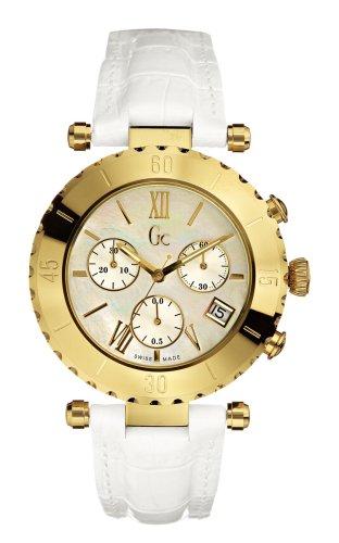 Guess - GC Diver Chic Chrono 34501L1 - Montre Femme - Quartz - Analogique - Bracelet Acier Inoxydable Doré Blanc