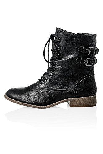 Vero Moda Damen Schnürstiefelette Stiefel Boots Stiefel Black