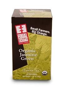 Equal Exchange Organic Jasmine Green Tea - 20 bags per pack -- 6 packs per case.