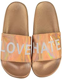 Fashion Thirsty Plano Mujer Deslizables Informal Love Hate Zapatillas sin Cordones Sandalias Números por Heelberry
