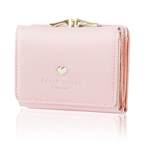 Geldbörse Damen - Geldbeutel Damen Leder Brieftasche, Portmonee Damen Leder Elegant Süß Handtasche Portemonnaie Geldbeutel für Frauen (Rosa)