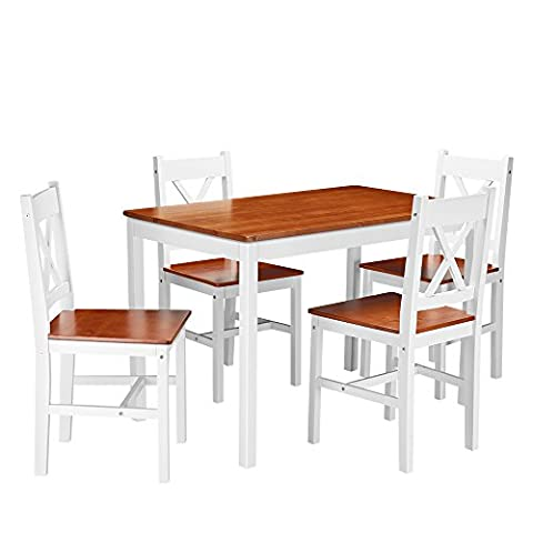 Panana Dining Room Set 5 Piece Wooden Chairs and Table Pine Wood Kitchen Dining Room Furniture