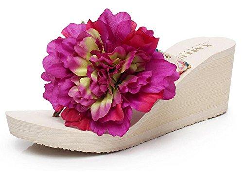 Débutant De Bon Augure Dames Été Talon Compensé Talon Sandale Plage Flip-flop Avec Fleur Manuelle Fushcia