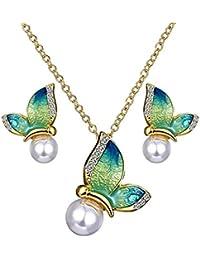 2de6bb11a7b4 Scrox 2pcs Juego de Joyas Mujeres Plata Moda Conjunto Joyería Coloreado  Mariposa Collar Perla Colgante Brillante