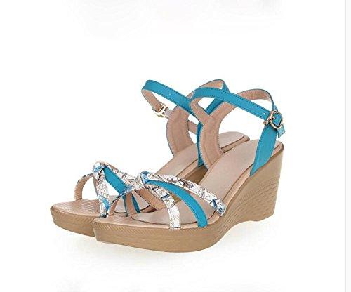 Demen L@YC Frauen keil Sandalen Sommer bequeme Leder lässig dicke High Heels Blue