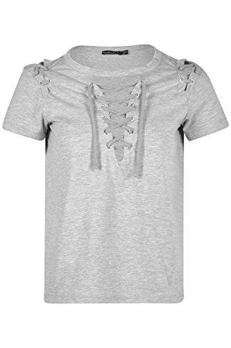 gris Femmes Petite Demi T-shirt À Col Et Épaules À Lacets Gris