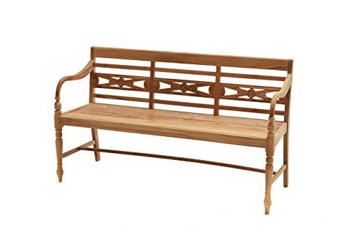 Ploß Ornamentbank Cambridge 150 cm - Gartenbank in Braun bis zu Personen - Sitzbank mit Armlehnen & Rückenlehne - Massivholzbank mit FSC-Zertifikat - Holz-Bank aus Teakholz -...