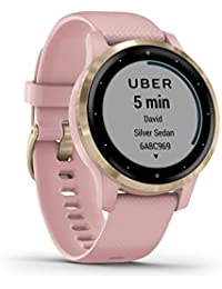 Garmin Unisex – Erwachsene vívoactive 4S GPS-Fitness-Smartwatch, Staub Rose/Light Gold, S 010-02172-32