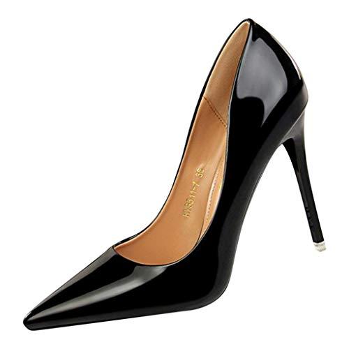 Frühlings- und Herbstmode Flache High Heels mit Spitzen Zehen Sexy Party Schuhe